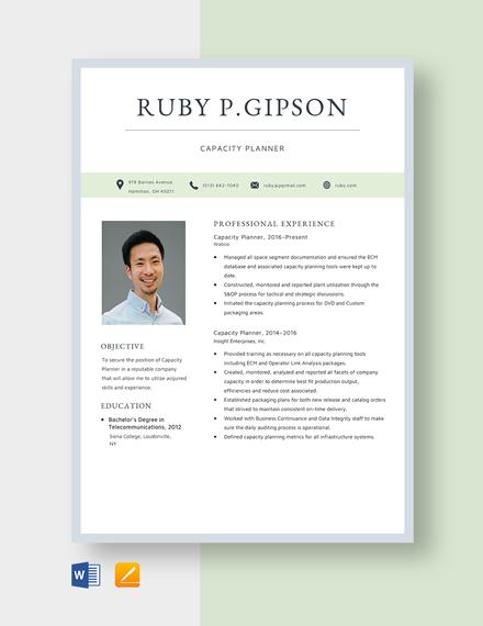 Capacity Planner Resume Template