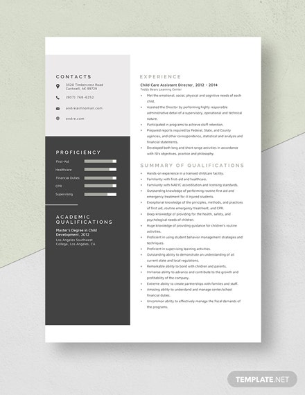 Child Care Assistant Director Resume Template