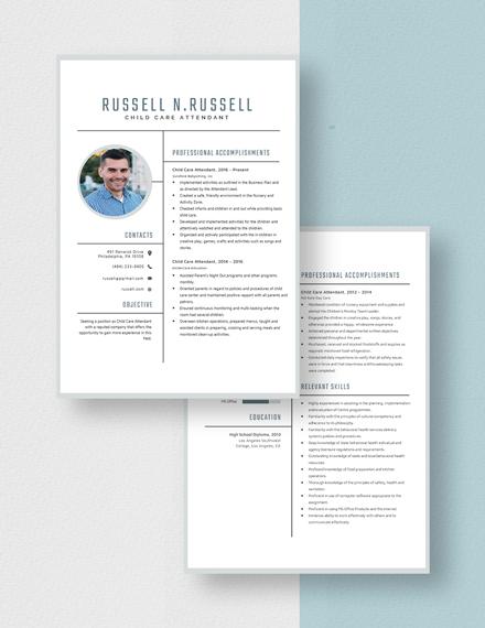 Child Care Attendant Resume Download