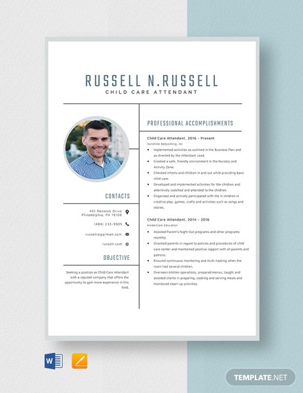 Child Care Attendant Resume Template
