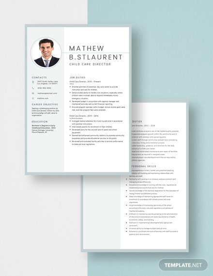 Child Care Director Resume Download