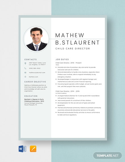 Child Care Director Resume