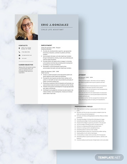 Child Life Assistant Resume Download