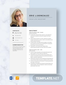 Child Life Assistant Resume Template