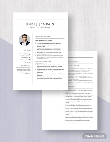 Child Life Specialist Resume Download
