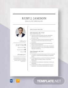 Child Life Specialist Resume Template