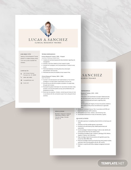 Clinical Research Trainee Resume Download