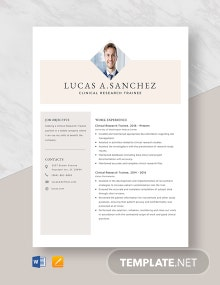 Clinical Research Trainee Resume Template