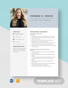 Clothing Store Manager Resume Template