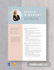 Clothing Store Sales Associate Resume Template