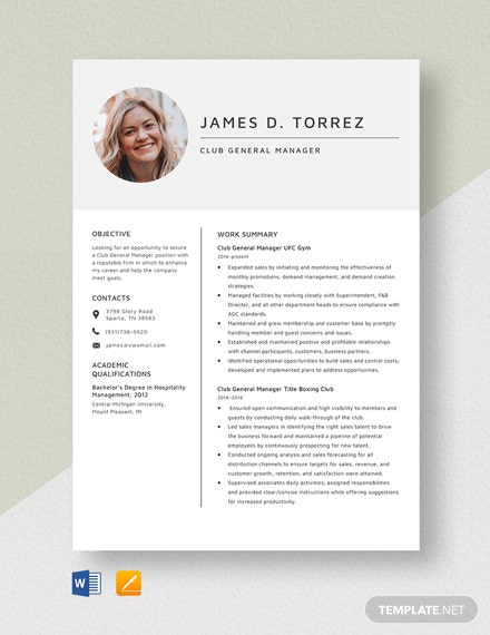 Club General Manager Resume Template