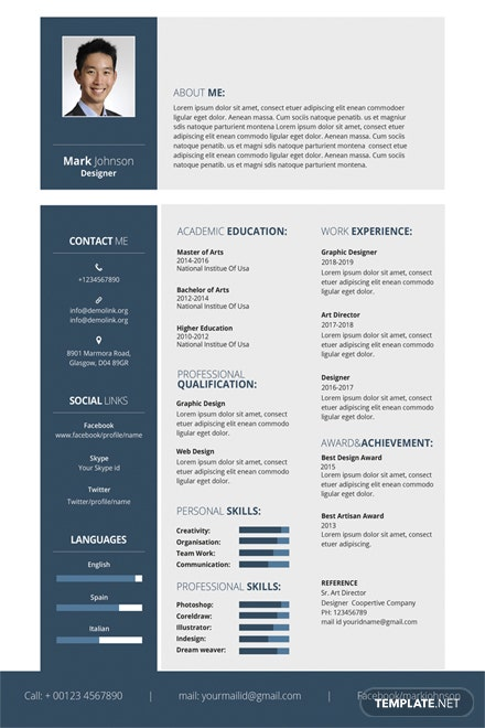 free designer resume template in adobe photoshop  microsoft word  publisher