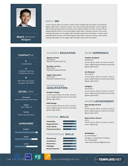 243+ FREE Resume Templates - Word | PSD | InDesign | Apple ...