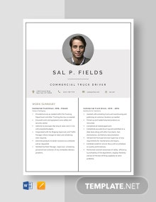 Commercial Truck Driver Resume Template