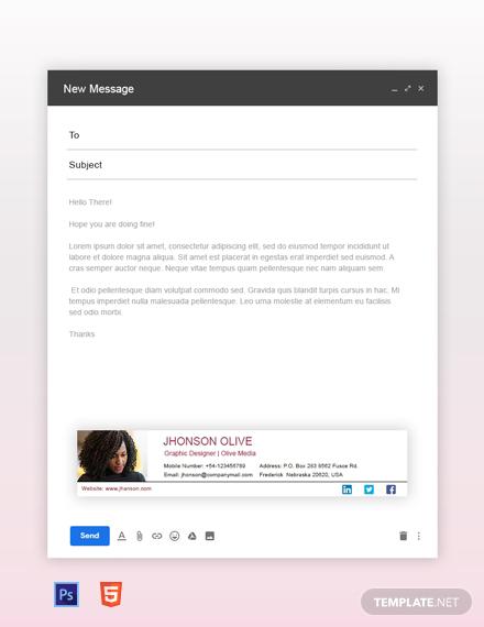 Free Graphic Designer Email Signature Template