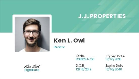 Modern Realtor ID Card Template
