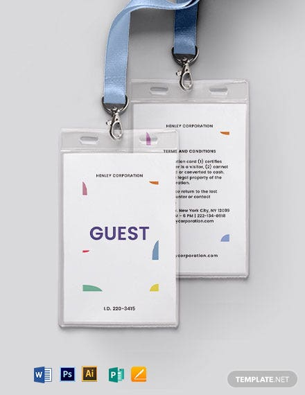 Reception Guest ID Card Template