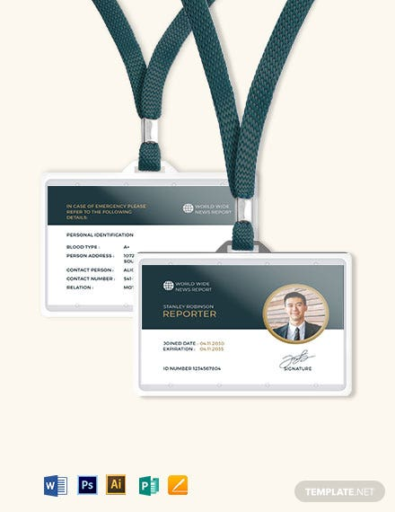 Reporter Id Card Template Word Psd Indesign Apple