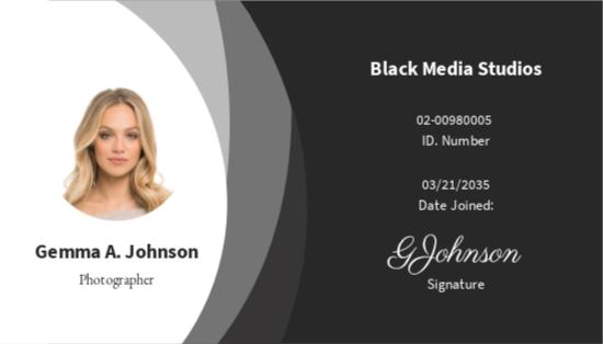 Sample Photographer ID Card Template