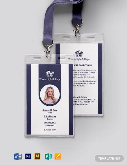 Sample Student Id Card Template Word