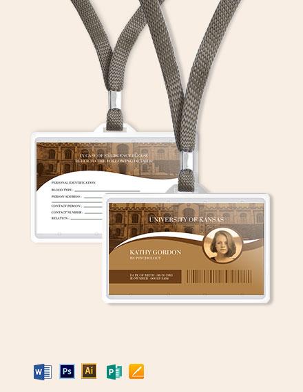 Sample University ID Card Template