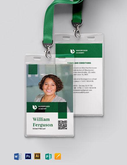 Elegant School Principal ID Card Template