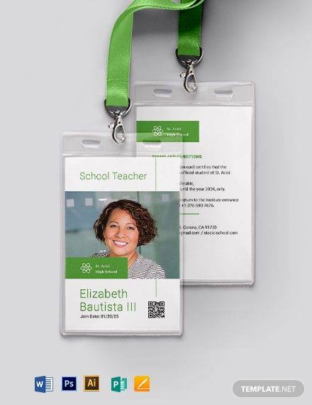 Teacher Photo ID Card Template