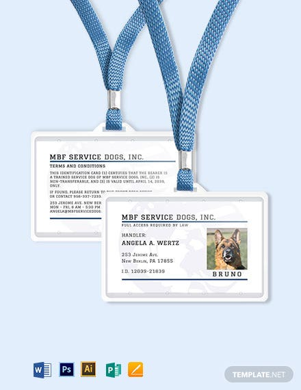 Service Animal ID Card Template