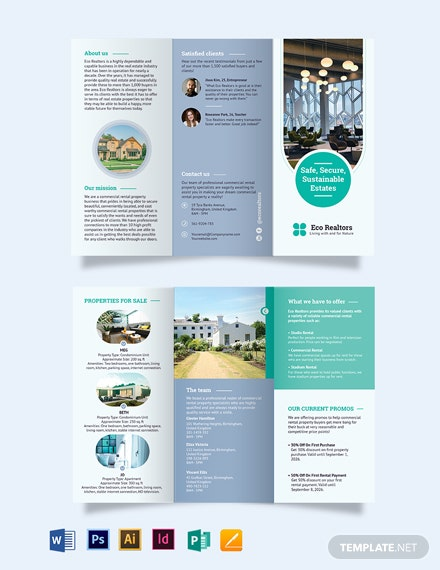 Commercial Rental Tri-Fold Brochure Template