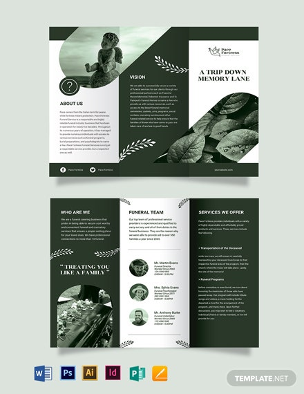 Free Editable Funeral Service Tri-Fold Brochure Template