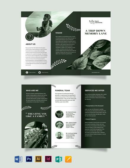 Editable Funeral Service Tri-Fold Brochure Template