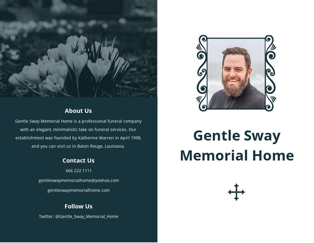 Minimalistic Funeral Memorial Bi Fold Brochure Template.jpe