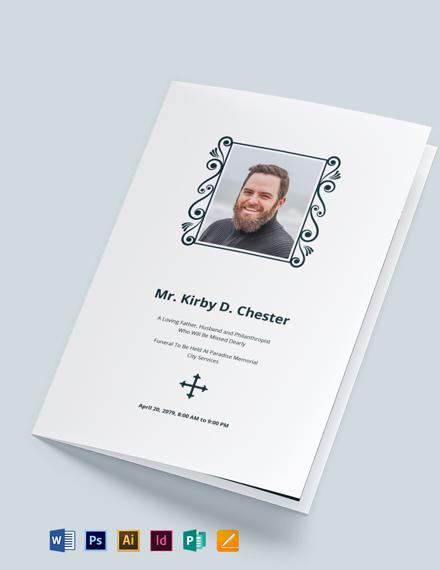 Minimalistic Funeral Memorial Bi-Fold Brochure Template