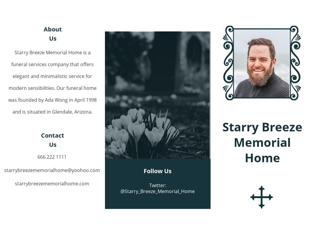 Minimalistic Funeral Memorial Tri Fold Brochure Template.jpe