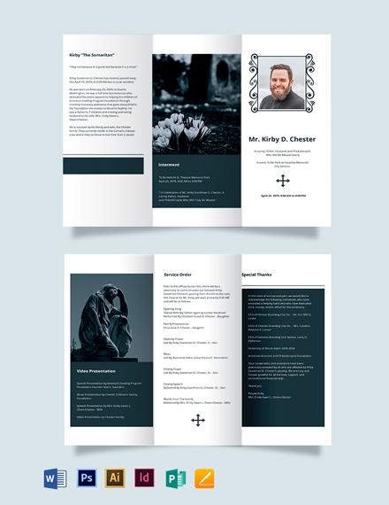 Minimalistic Funeral Memorial Tri-Fold Brochure Template