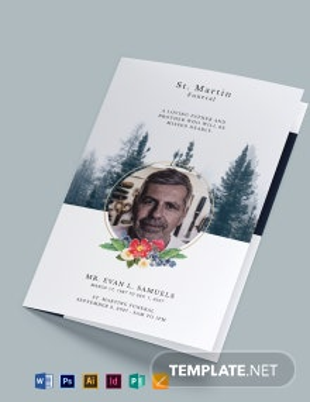Free Modern Funeral Obituary Bi-Fold Brochure Template