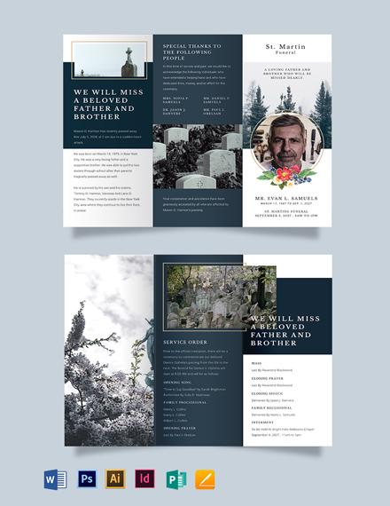 Free Modern Funeral Obituary Tri-Fold Brochure Template