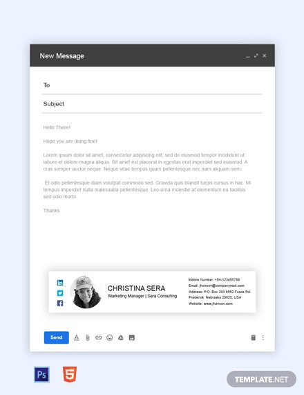Free Marketing Manager Email Signature Template