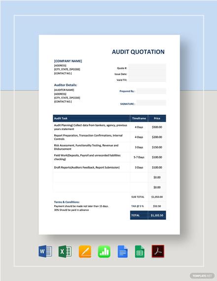 Audit Quotation Template