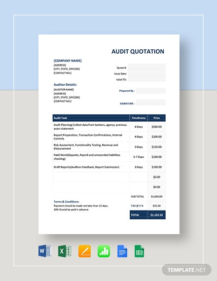 Audit Quotation Template