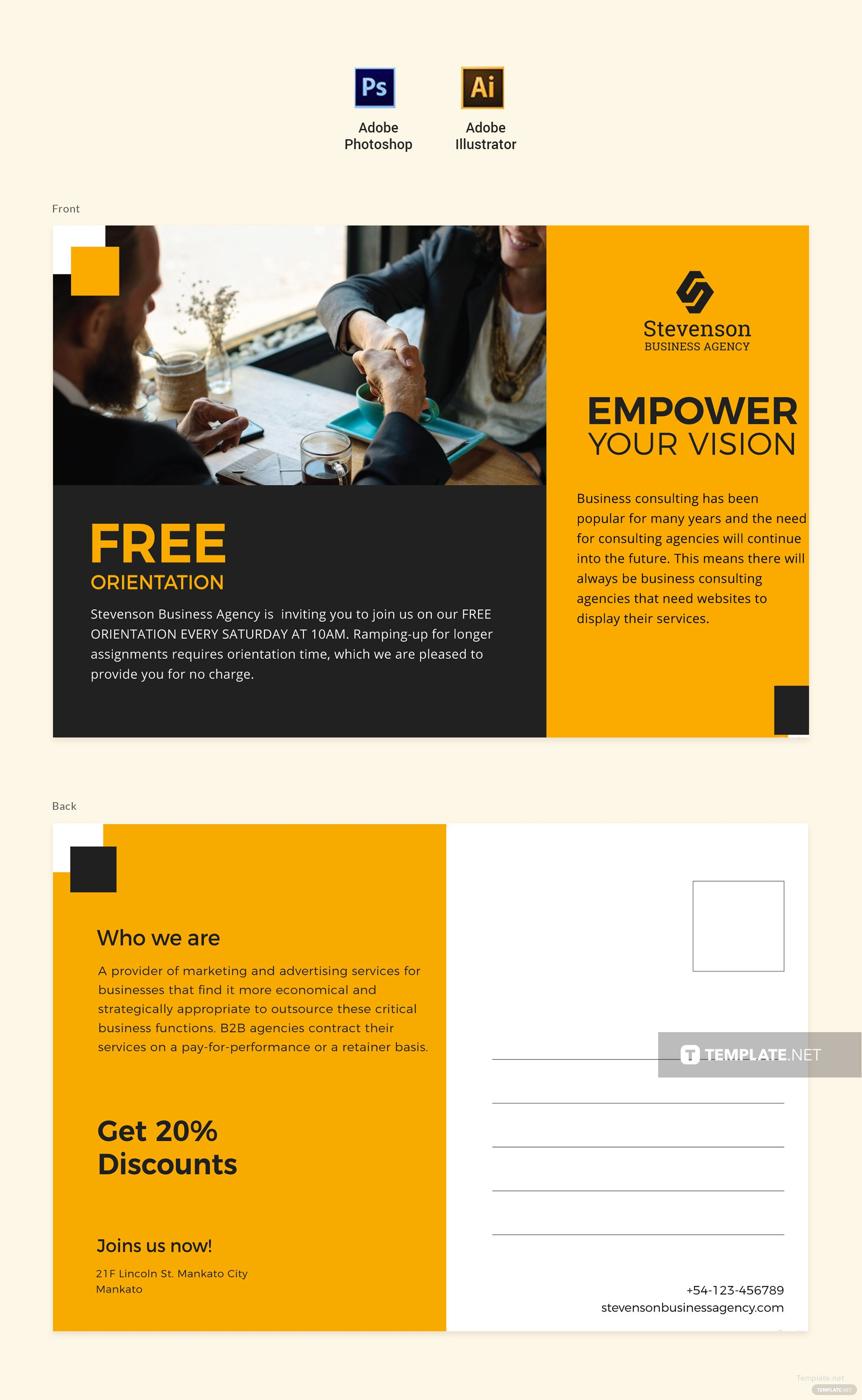 Free Business Agency Postcard Template in Adobe Photoshop, Adobe ...