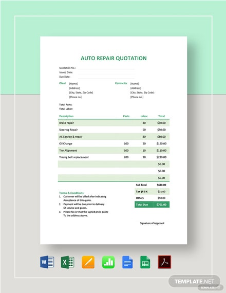 Auto Repair Quotation Template
