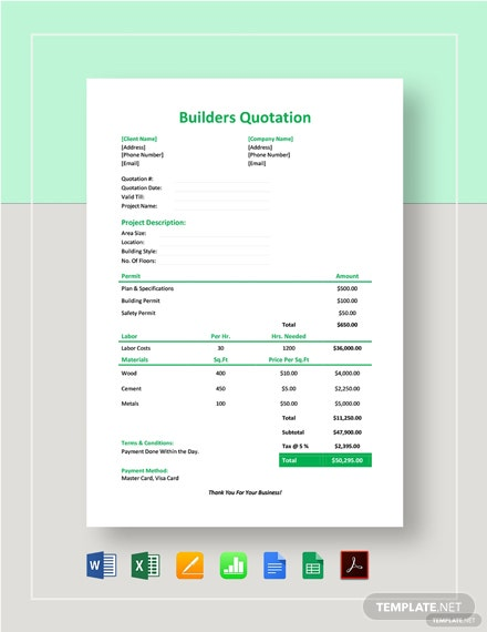 Builders Quotation Template