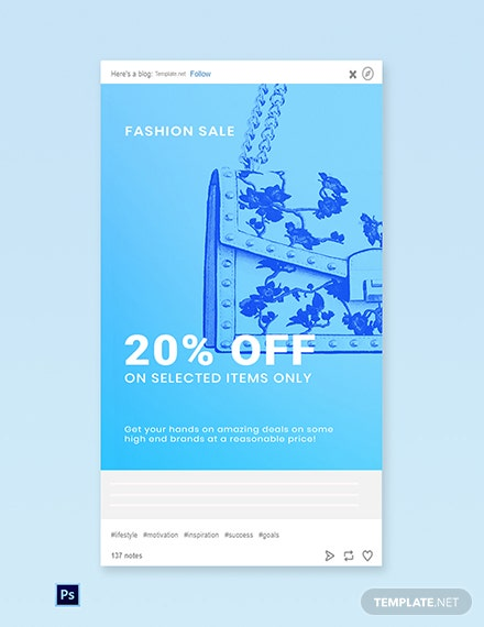Free Fashion Sale Promotion Tumblr Post Template