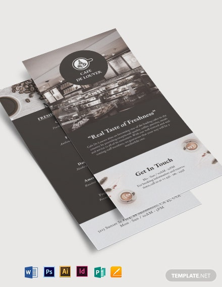 Cafe Menu DL Card Template