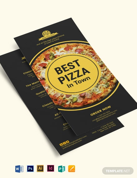 Pizza Menu DL Card Template