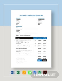 Electrical Contractor Quotation Template