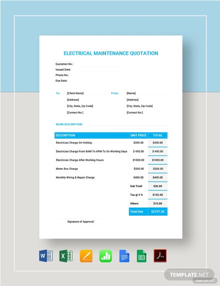 Electrical Maintenance Quotation Format Template
