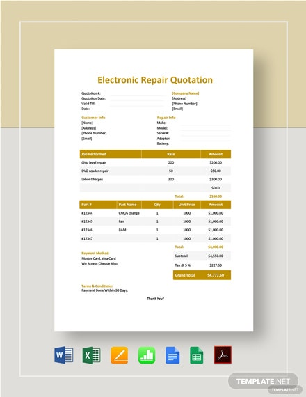 Electronic Repair Quotation Template