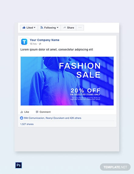 Free Fashion Sale Discounts Facebook Post Template